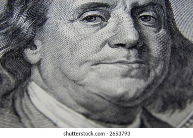 the part of US dollars banknote with president's portrait