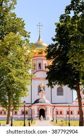 Part of the Valday Iversky Monastery, a Russian Orthodox monastery founded by Patriarch Nikon in 1653. Lake Valdayskoye in Valdaysky District of Novgorod Oblast, Russia,