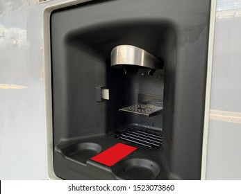 A part of vending automate for making hot drinks, tea and coffee on the go.