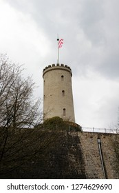 part view of the tower at the sparrenburg in bielefeld germany photographed during a sightseeing tour at a sunny day