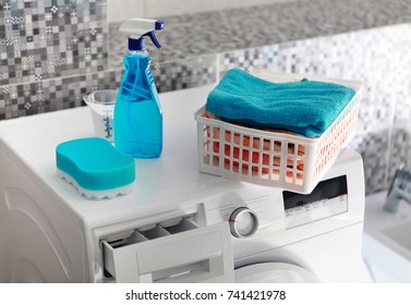 part of washing machine and laundry powder for washing day