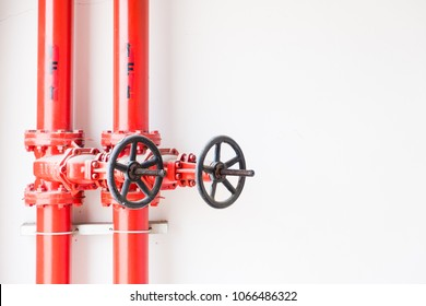 The part of water piping  in the fire extinguishing system in the industrial factory.