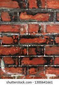 Part of a weathered red brick wall as a background