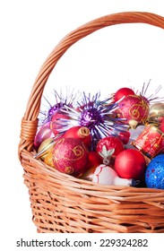 Part of the Wicker Basket full of Christmas Baubles