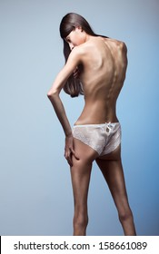 Part of woman body suffering anorexia nervosa