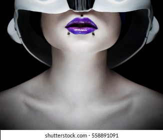part of woman girl face neck and lips futuristic helmet
