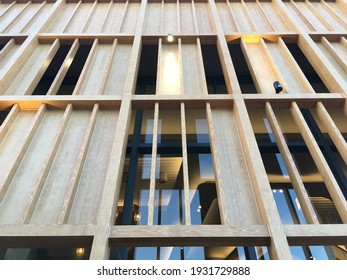 a part of wood facade of Sawa building in Songkhla province, Thailand on February 20 2020