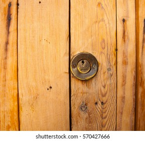 part of wooden door with round key lock for  close-up