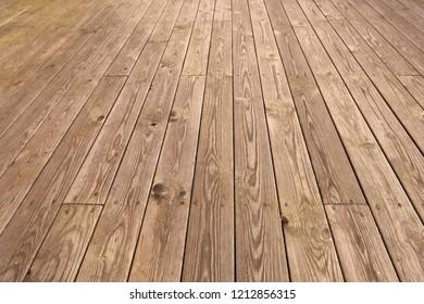 Part of  wooden outdoor terrace floor of a resthouse in Norway.