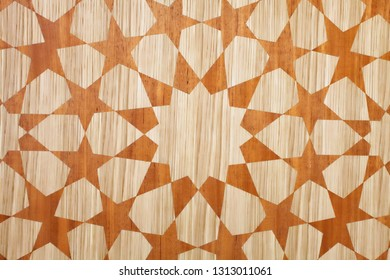 Part of a wooden sheet with an islamic geometric pattern