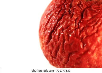 Part of wrinkled apple texture with white background