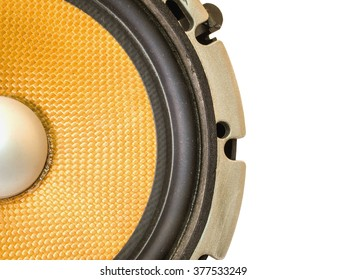 Part of yellow old car audio speaker, isolated on white background