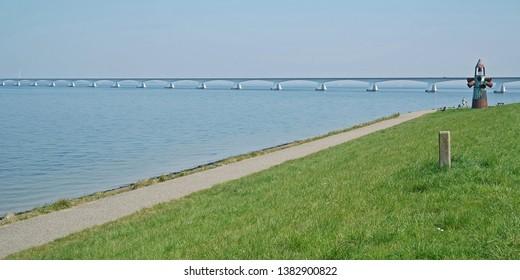 Part of the Zeeland bridge over the Oosterschelde near Colijnsplaat in Zeeland, The Netherlands