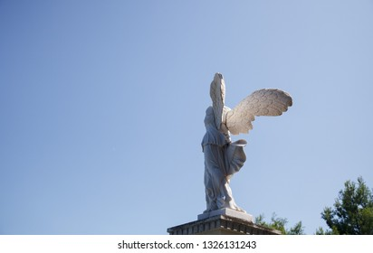 Partenit, Crimea - August 27, 2017: Statue of  Winged Victory of Samothrace (called Nike of Samothrace) in the Park Aivazovsky in Crimea