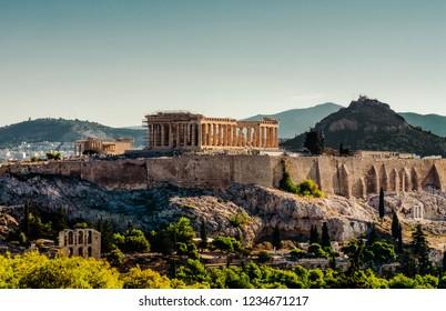 Parthenon, Acropolis of Athens and Lycabettus Hill view from Filopappou hill. Acropolis of Athens, Lycabettus Hill, Greece