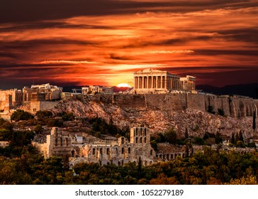 Parthenon, Acropolis of Athens, Under Dramatic Sunset sky of Greece, horizontal