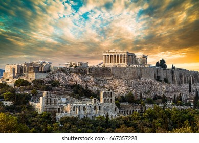 Parthenon, Acropolis of Athens, Under Dramatic Sunset sky of Greece