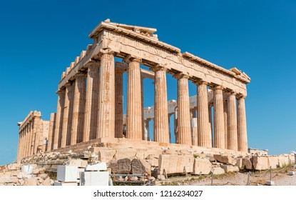 Parthenon of Acropolis building shoot in the morning with no tourists. Ancient Greece major landmark.