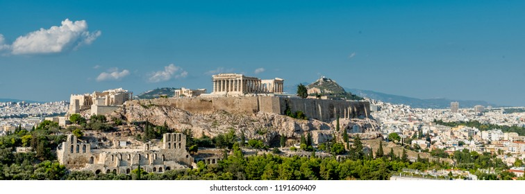 The Parthenon, Acropolis and modern Athens with Lykavitos in the background