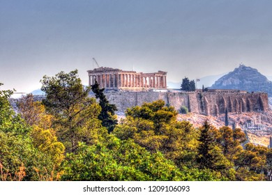 Parthenon and Acropolis photograped from Hill of the Muses
