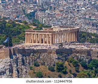 Parthenon ancient temple on acropolis of Athens Greece, northern aerial view