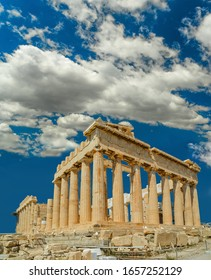 parthenon in athens  city greece in spring  season blue sky and clouds in sunny greek day