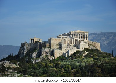Parthenon, Athens, Greece / 03-01-2017. The Parthenon is a former temple on the Athenian Acropolis, dedicated to the goddess Athena. Construction began in 447 BC, it was completed in 438 BC.