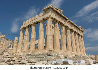 Parthenon in Athens, Greece with blue skies.