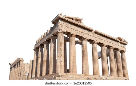 The Parthenon (Athens, Greece) isolated on white background. It is a temple on the Athenian Acropolis dedicated to the goddess Athena