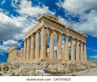 parthenon athens greece sky clounds   in spirng  season