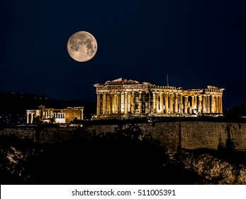 Parthenon of Athens at Night with Full Moon, Greece