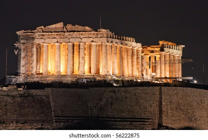 Parthenon construction on Acropolis hill in Athens Greece