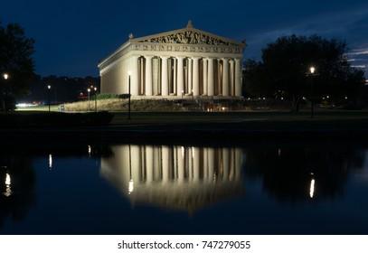 The Parthenon in Nashville, Tennessee is a full scale replica of the original Parthenon in Greece