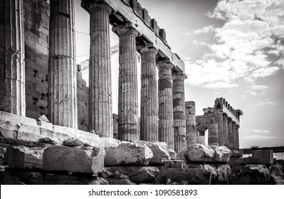 Parthenon on the Acropolis of Athens in black and white, Greece. The famous ancient Greek Parthenon is the main landmark of Athens. Ruins of Parthenon or temple of Athena at the top of hill.