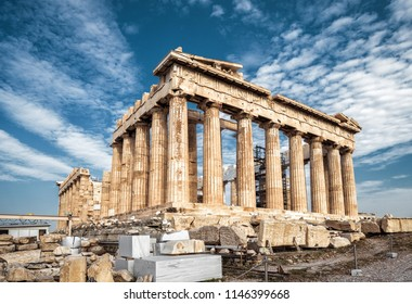 Parthenon on the Acropolis of Athens, Greece. Ancient Greek Parthenon is the main landmark of Athens. Ruins of the majestic temple in Athens center. Famous historical architecture of Athens in summer.