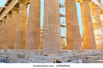 Parthenon on Acropolis, Athens, Greece. It is a main tourist attraction of Athens. Ancient Greek architecture of Athens, Ruins of a famous landmark of Athens on the top of Acropolis hill