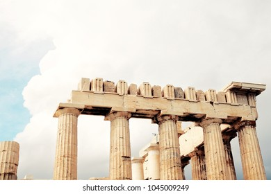 Parthenon on the Acropolis before the rain.Athens, Greece.