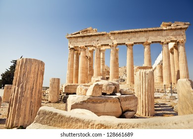 Parthenon on the Acropolis in Greece on a beautiful summer day