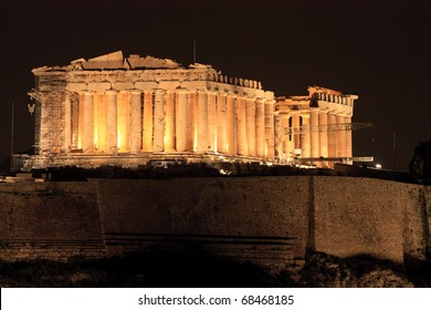 Parthenon on Acropolis Hill of Athens by night