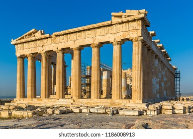 The Parthenon on the Athenian Acropolis with blue sky in the background, Greece