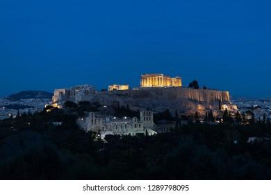 The Parthenon Temple at the Acropolis of Athens, Greece