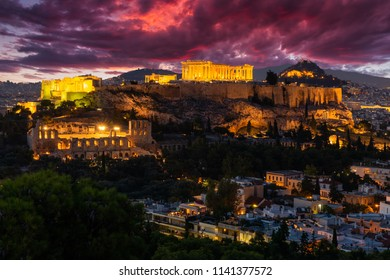 Parthenon temple in Acropolis Hill in Athens, Greece at sunset