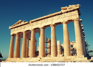 The Parthenon temple closeup in Acropolis in Athens, Greece.
