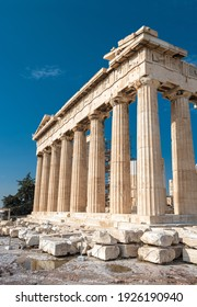 Parthenon temple on Acropolis, Athens, Greece. It is top landmark of Athens. Ruins of famous building on Acropolis hill, Ancient Greek architecture of Athens. Concept of history and travel in Athens.