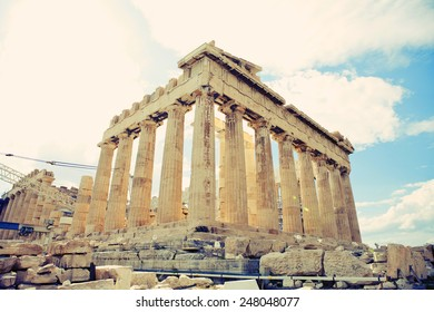 Parthenon temple on the Acropolis of Athens,Greece, instagram look