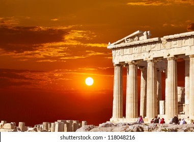 Parthenon temple  on the Athenian Acropolis, Greece