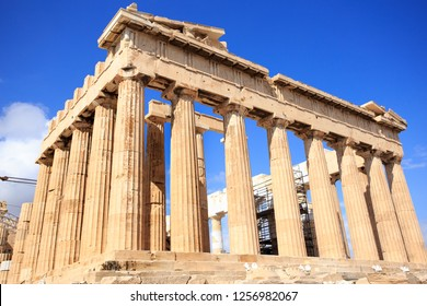 Parthenon temple on a bright day. Acropolis, Athens, Greece
