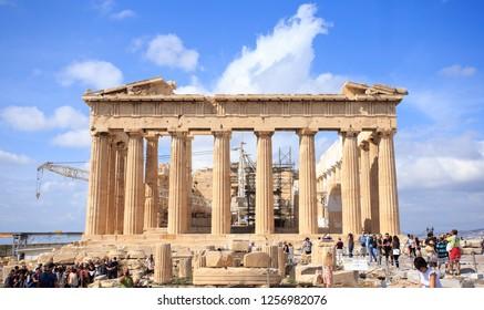 Parthenon temple on a bright day. Acropolis, Athens, Greece