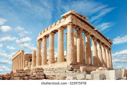 Parthenon Tempel an einem hellen Tag. Akropolis in Athen, Griechenland