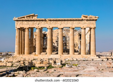 Parthenon temple on a bright day. Acropolis in Athens, Greece. Spring.